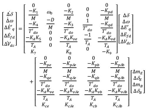 معادلات فضای حالت ژنراتور به همراه UPFC